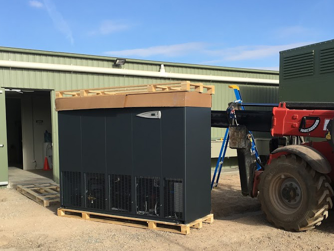 Climaveneta i-BRE 190b indoor unit being loaded for installation